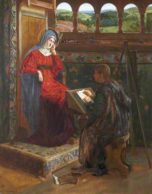 Skilbeck, Clement Oswald, 1865-1954; Saint Luke Writing His Gospel at the Dictation of the Virgin Mary