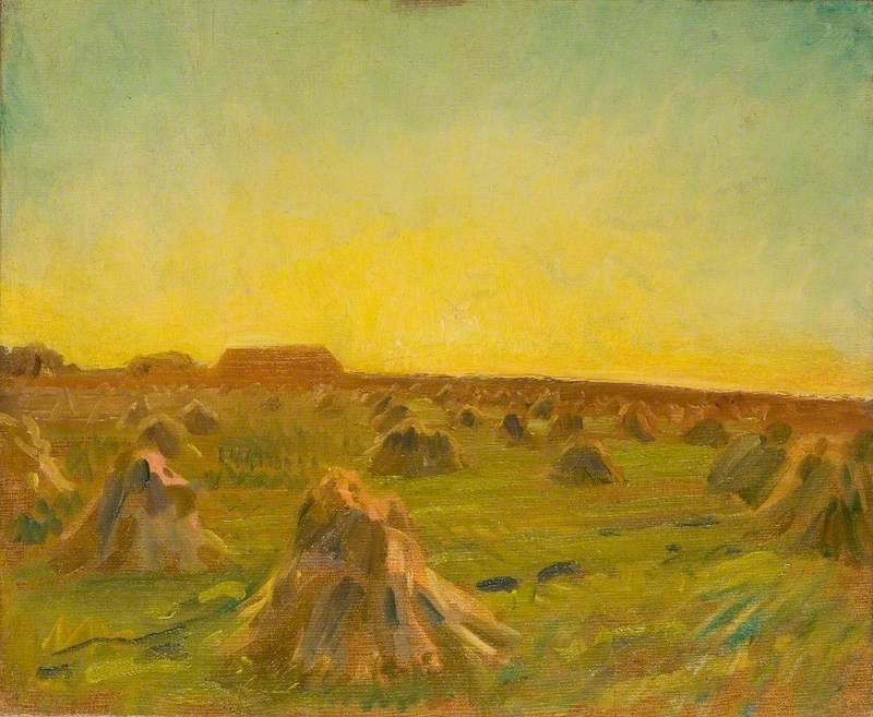 Munnings, Alfred James, 1878-1959; Sunset over a Harvest Field
